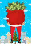 Santa and bag of money. Christmas gift cash. Red sack with dolla Royalty Free Stock Images