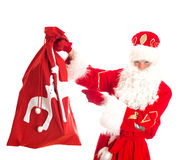 Santa with bag of presents. Royalty Free Stock Images