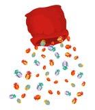 Santa bag rain gifts. Christmas sack with gift. gift lot of fest. Ive box Stock Photography