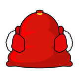 Santa bag and red mittens. Big sack with gifts. Giving gifts at Royalty Free Stock Photo