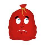 Santa bag Surprised Emoji. Christmas sack with gifts astonished Royalty Free Stock Image