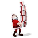 Santa balancing presents Royalty Free Stock Images