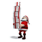Santa balancing presents. 3d rendering/illustration of a cartoon santa balancing a high stack of presents Royalty Free Stock Photos