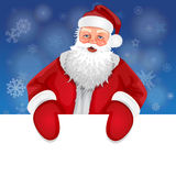 Santa. With banner on a background of snowflakes Royalty Free Stock Photo