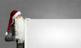 Santa with banner Royalty Free Stock Images