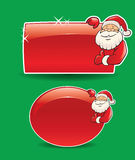 Santa banner on green background. Two santa banners on green background Stock Photos