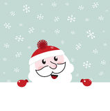 Santa banner with snowing winter sky. Royalty Free Stock Photos