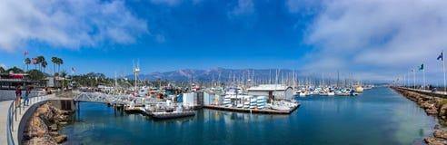 Santa barbara bay harbor with boats stock photos