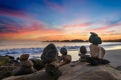 Free Santa Barbara Beach Sunset With Balanced Rocks Stock Image - 110561831