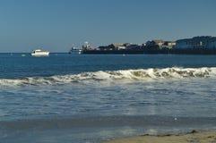 Santa Barbara Beach At Sunset And Zijn Malecon Het landschap van de aard stock fotografie