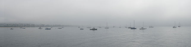 Santa Barbara Boats le jour obscurci Photographie stock