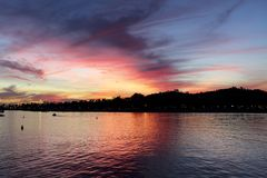 Santa Barbara CA pier sunset. Sunset of blue, orange, yellow over the ocean in Santa Barbara royalty free stock photography