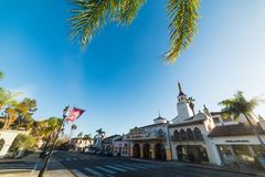 Clear sky over Arlington theater on State street. Santa Barbara, CA, USA - October 26, 2016: Clear sky over Arlington theater on State street Royalty Free Stock Images