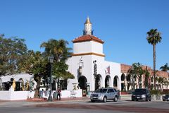Santa Barbara, California. SANTA BARBARA, UNITED STATES - APRIL 6, 2014: People visit Santa Barbara, California. It is a popular tourist destination with more Royalty Free Stock Photography