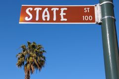 Santa Barbara. California, USA - famous State Street and a palm tree Royalty Free Stock Photography