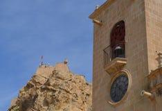 Santa Barbara Castle And The Basilica De Santa Maria Stock Photo