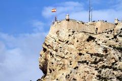 Santa Barbara Castle i Alicante royaltyfri bild