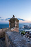 Santa Barbara Castle at sunset Royalty Free Stock Photos