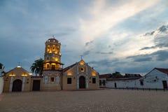 Santa Barbara Church. The Santa Barbara Church at dusk in Mompox, Colombia Stock Images
