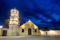 Santa Barbara Church at Night. Santa Barbara church with a beautiful deep blue sky taken at night in Mompox, Colombia Royalty Free Stock Images