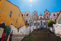 Santa Barbara Church på Pelourinho, Salvador da Bahia, Brasilien Katolsk kyrka historiskt omr?de av Pelourinho royaltyfri bild