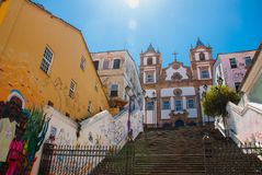 Santa Barbara Church at Pelourinho, Salvador da Bahia, Brazil. Catholic church, historic district of Pelourinho. The historic center royalty free stock image