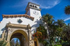 Santa Barbara Courthouse. Front entrance to the iconic and much visited Santa Barbara municipal courthouse in California Stock Images