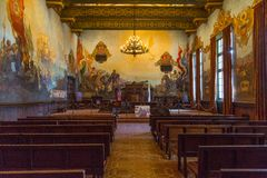 Santa Barbara Courthouse. The Mural Room where weddings frequently occur in the Santa Barbara Courthouse Royalty Free Stock Photography