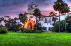 Santa Barbara Courthouse. Pink sunset over the Santa Barbara Courthouse Royalty Free Stock Photo