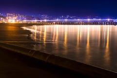 Santa Barbara, de Haven van Californië bij nacht stock foto's