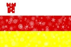 Santa Barbara, fond de drapeau de flocons de neige d'hiver de la Californie Les Etats-Unis d'Amérique illustration libre de droits