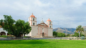 Santa Barbara Mission. A panorama photo of the front of the Santa Barbara Mission royalty free stock images