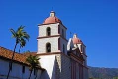 Santa Barbara Mission. Two bell towers of Santa Barbara Mission Stock Images