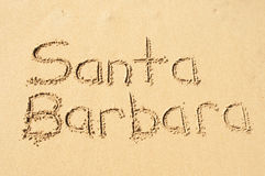 Santa Barbara. A picture of the word Santa Barbara drawn in the sand Royalty Free Stock Photo