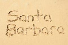 Santa Barbara. A picture of the word Santa Barbara drawn in the sand royalty free stock photo