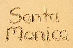 Santa Monica. A picture of the word Santa Monica drawn in the sand Royalty Free Stock Photos