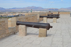 Santa Barbaras Cannons In Spanish Castle Fort - Ships Cannon Royalty Free Stock Photos