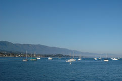 Santa barbara seascape wih boa Royalty Free Stock Photo
