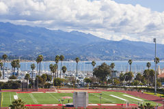 Santa Barbara Sports Field. The football and sports field at Santa Barbara City College, a public secondary school in California, with the harbor and Santa Ynez stock images