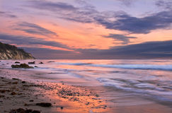 Santa Barbara Sunset. An ocean sunset at low tide in Santa Barbara, California royalty free stock photography