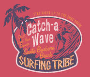 Santa Barbara surfing. Vintage prints for sports wear in custom colors, grunge effect in separate layer stock illustration