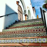 Santa Barbara Tiled Staircase. Mosaic artwork visible on staircase in Santa Barbara, California on a bright and sunny day Royalty Free Stock Images