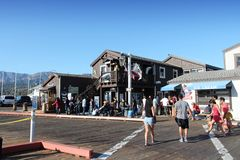 Santa Barbara. UNITED STATES - APRIL 6, 2014: People visit Stearns Wharf in , California. It was completed in 1872 and is a popular tourist destination royalty free stock photos