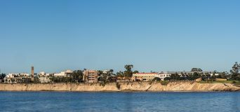 Panorama, UCSB Skyline seen from across Goleta Bay, California. Santa Barbara, United States - Febriary 16, 2018: Panorama Skyline of University California Royalty Free Stock Image