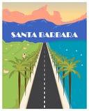 Santa Barbara vintage poster. Vector illustration. Santa Barbara, California vintage poster. Vector illustration.  Santa Ynez Mountains. dramatic backdrop Stock Photography