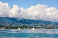 Santa Barbara Waterfront. The Santa Barbara coastline with foreground sailboats Royalty Free Stock Photos