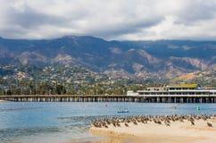 Santa Barbara Wharf. A view of Stearn's Wharf and Santa Barbara harbor royalty free stock image