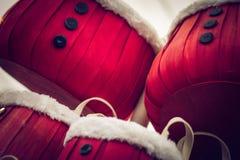 Santa baskets. Santa style baskets with fur trim royalty free stock photos