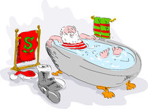 Santa in bath tub relaxing Stock Photography