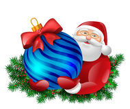 Santa with bauble gift. Santa Claus holding bauble ball gift with red bow. Evergreen around santa. Vector colorful isolated illustration Stock Photography
